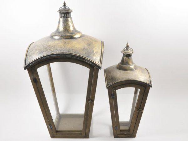 Lanterne Piramide in metallo set x 2 pz