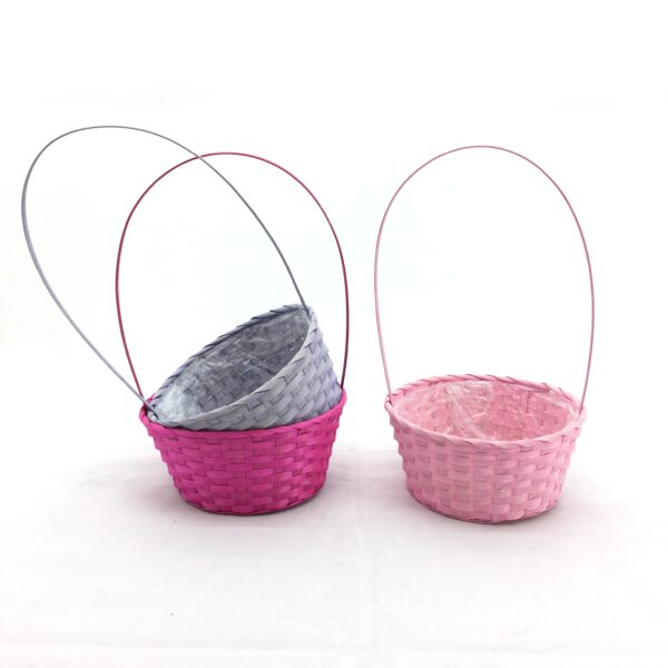 Ciotola tonda con manico tre colori assortiti rosa/lilla/fuxsia D.25 H.12/44