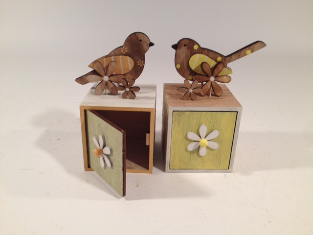 Uccellino su cassetta in legno set da 2