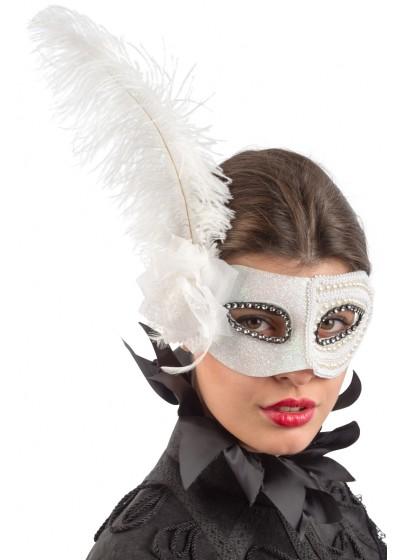 Maschera con glitter, strass, perle, piume e fiore