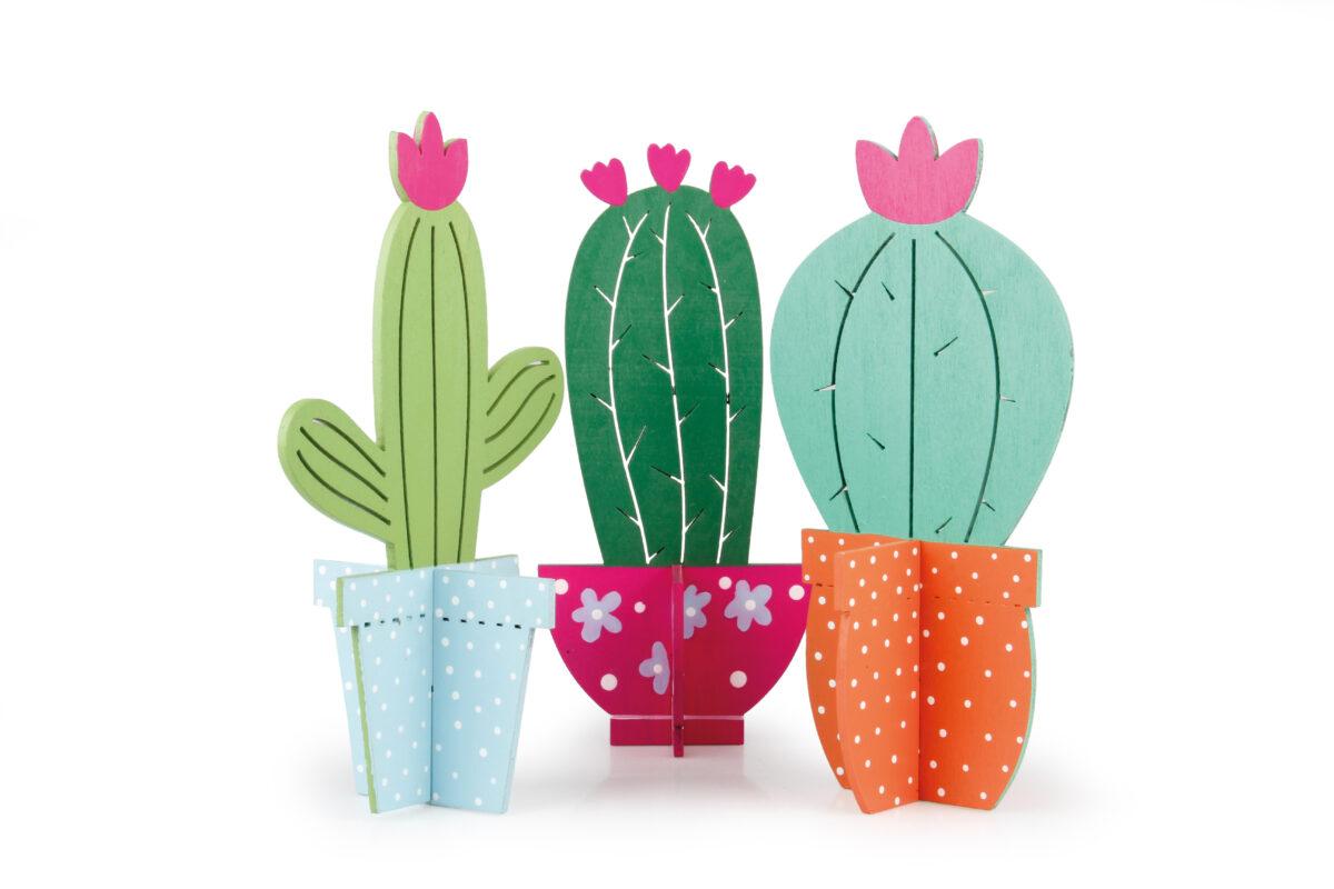 Set 3 cactus in legno