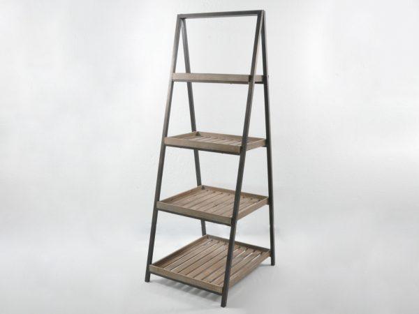 Espositore a 4 ripiani in legno e ferro
