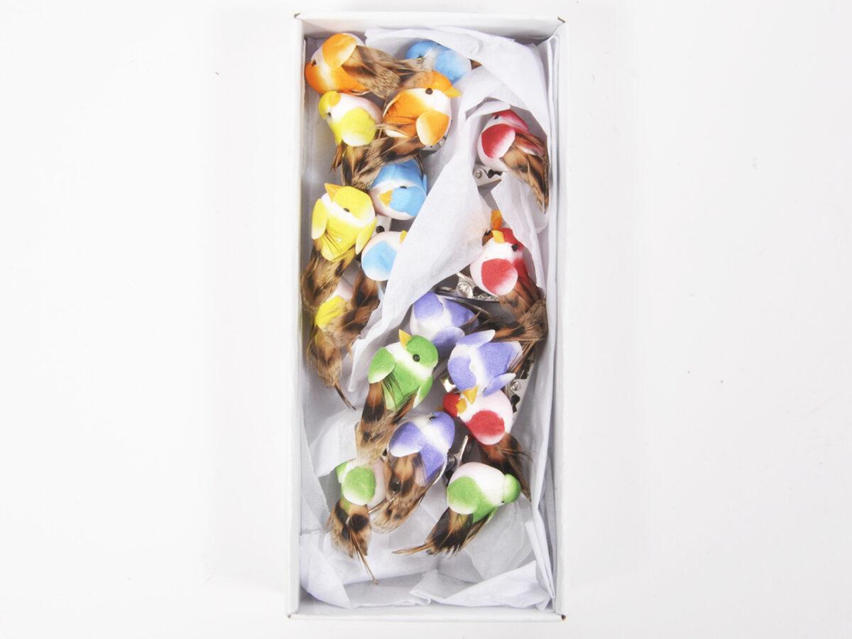 Uccello su clip mix in box da 18pz
