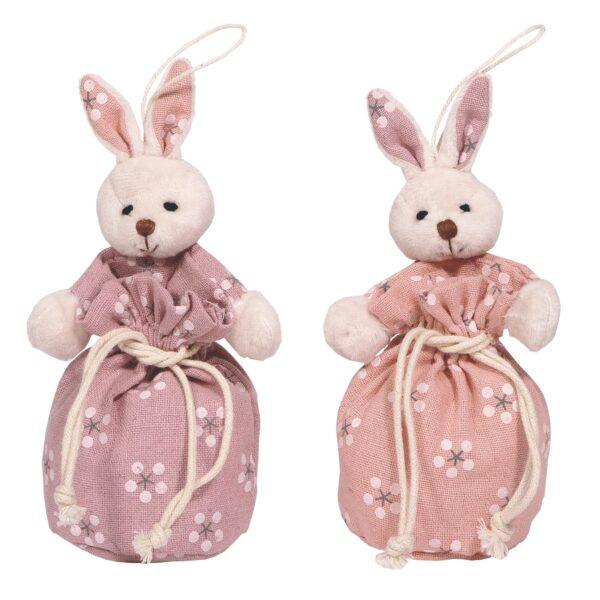 Sacchetto coniglio con fiori 2pz