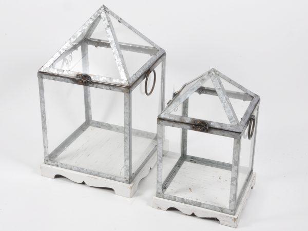Lanterna in metallo bianca set da 2