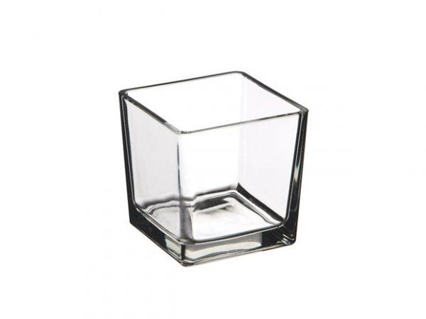Cubo in vetro bomboniera portacandele