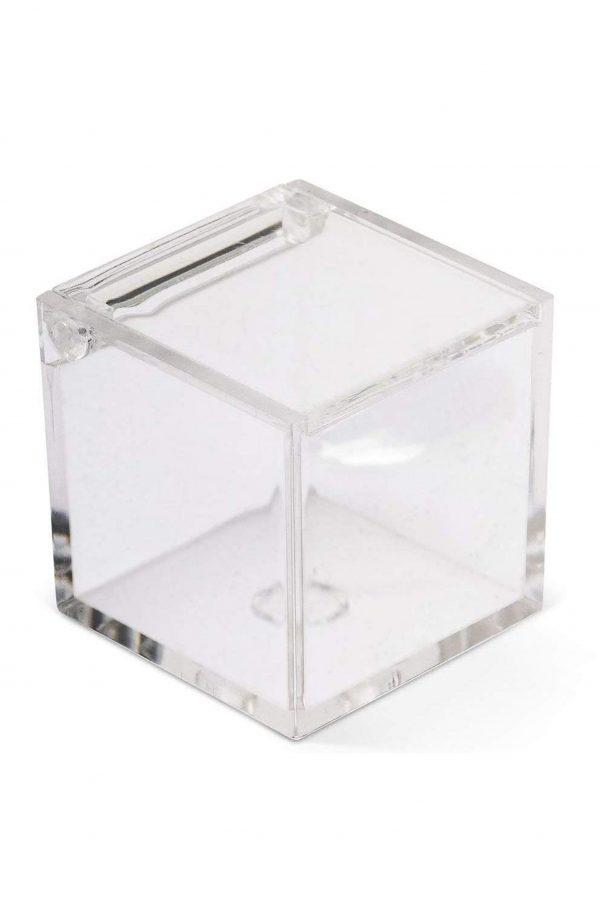 Scatolina portaconfetti in plexiglass trasparente 6x6x6 set da 25