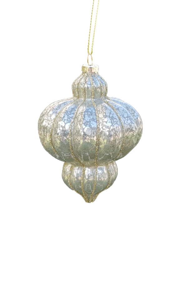 Palla di Natale in vetro 8x12h cm