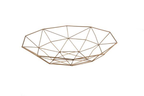 Cestino contenitore geometrico filo metallo copper 33x33x8 cm