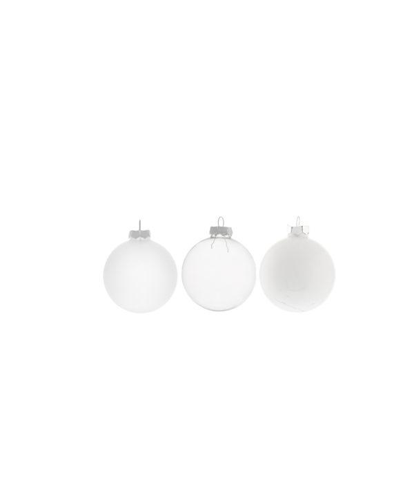 Pallina di Natale in vetro bianca, trasparente e opaca d. 6 cm Set 3 pz ass.