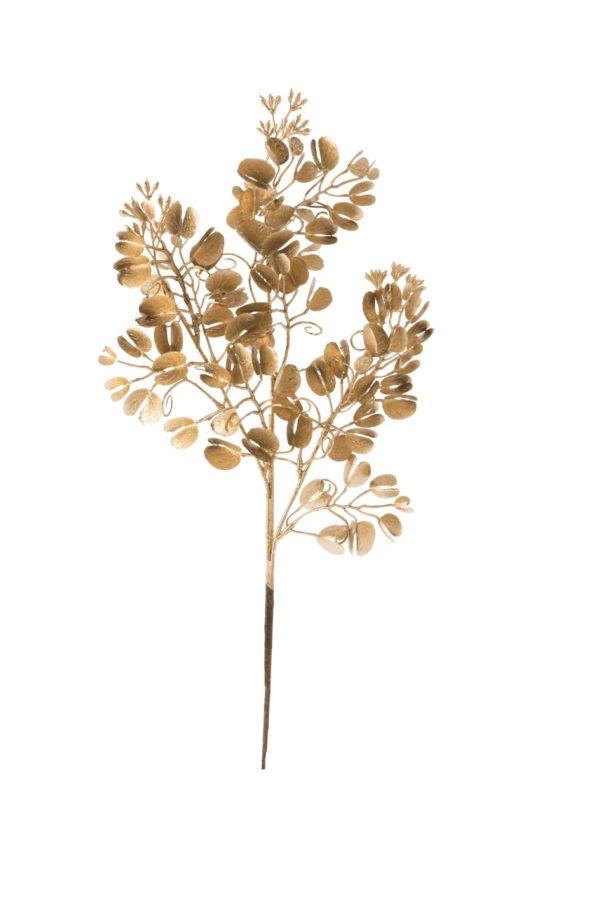 Ramo eucalipto artificiale oro con glitter 45cm