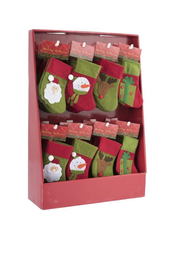 Pendente calza natalizia/befana in feltro rossa e verde Set 4 pz assortito 14cm