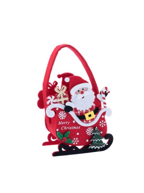 Borsetta feltro con Babbo Natale 10x12 cm