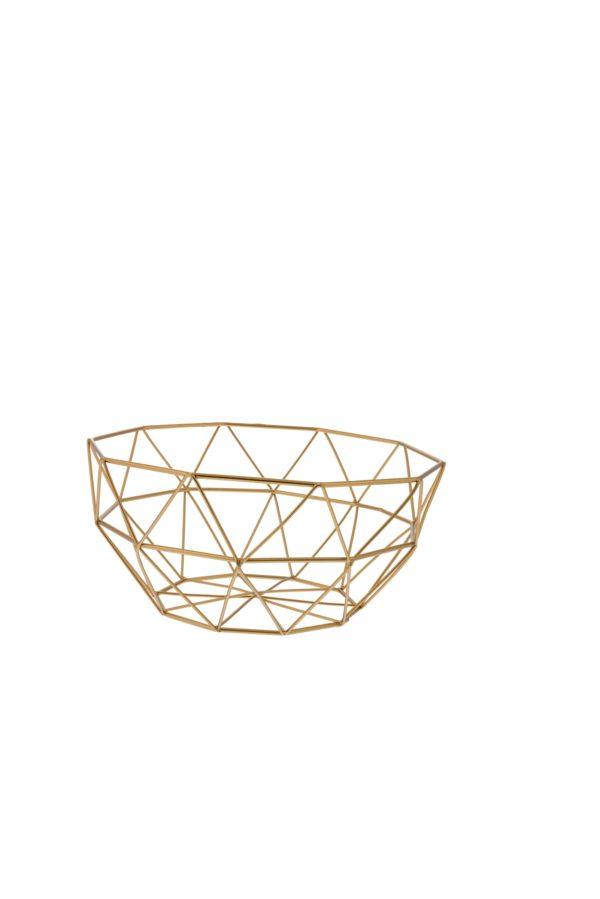 Cestino contenitore geometrico filo metallo oro 12x24 cm