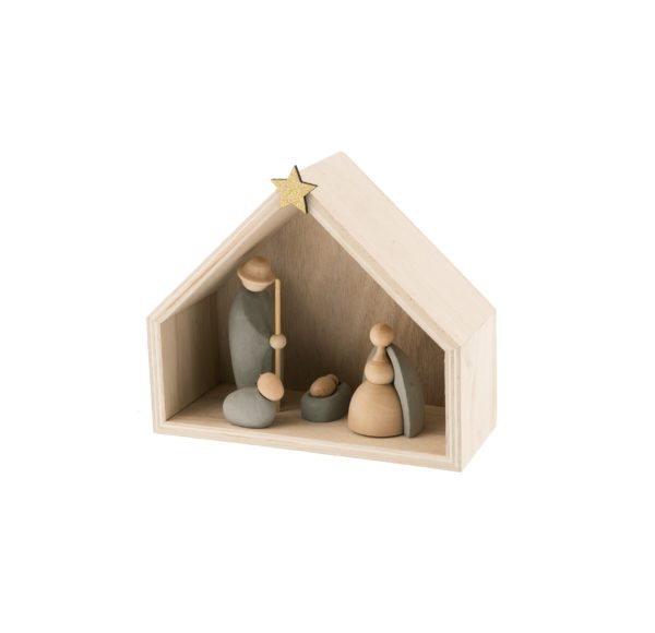 Natività con 4 soggetti in cemento con capanna in legno 17x20 cm