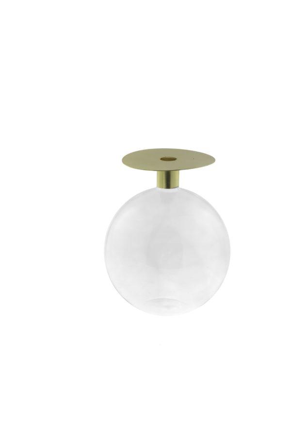 Vaso ampolla in vetro con coperchio in metallo oro 13,5x18 cm