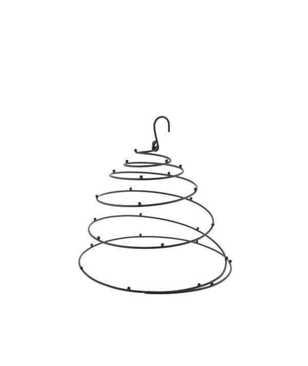 Espositore a spirale da appendere in metallo nero con ganci d.30 h.27 cm