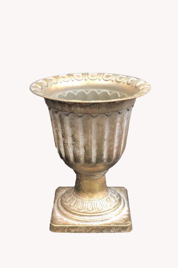 Vaso impero in plastica effetto ceramica oro opaco