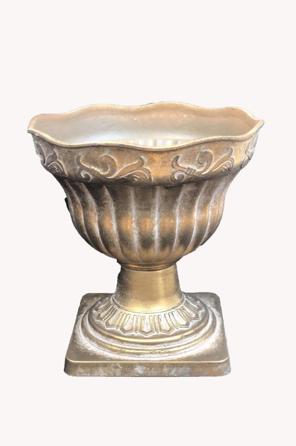 Vaso impero in plastica effetto ceramica oro opaco h. 26 cm