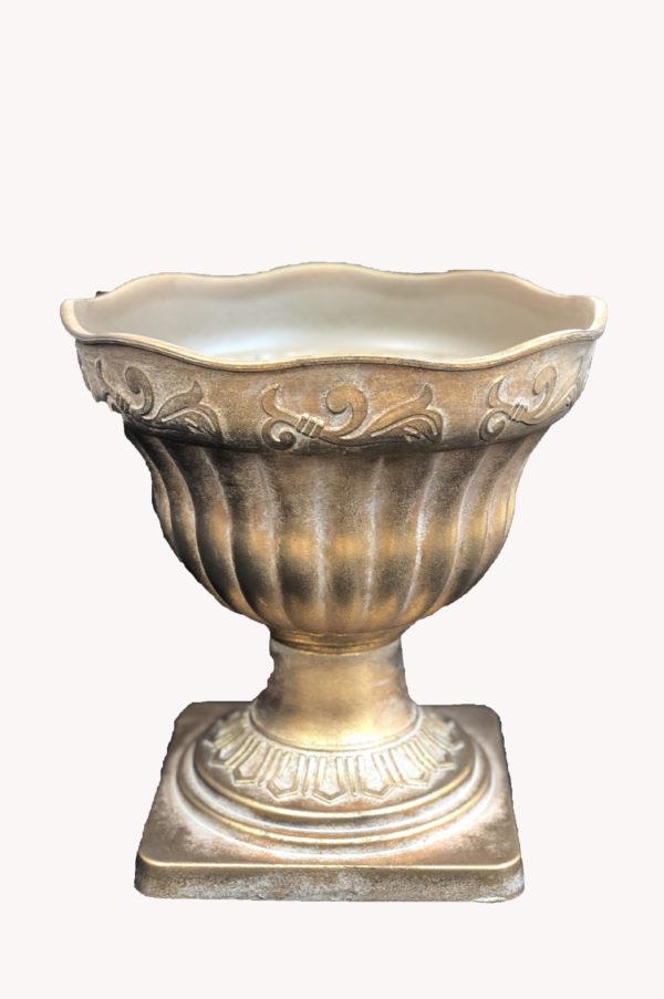 Vaso impero in plastica effetto ceramica oro opaco h. 30,5 cm
