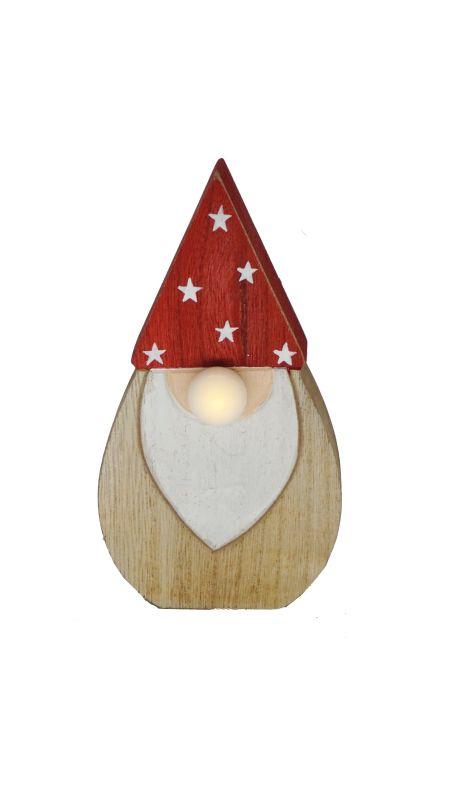 Babbo Natale in legno con naso led Set 2 pz assortiti h. 12 cm