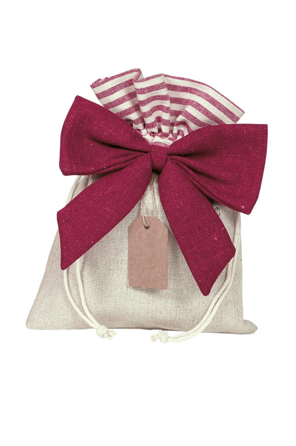 Bustina-sacchetto color naturale e bordeaux con tag pendente Set 5 pz 20 x 15 cm