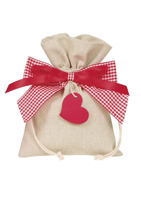 Bustina-sacchetto color naturale con cuoricino pendente Set 5 pz 20 x 15 cm