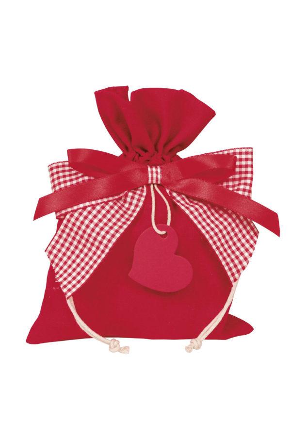 Bustina-sacchetto rosso con cuoricino pendente Set 5 pz 20 x 15 cm