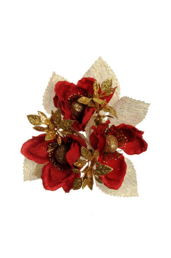 Girocandela con magnolia e foglie arificiali rosso e oro Set 6 pz d. 2,5 cm
