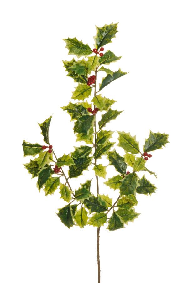 Foglie di agrifoglio artificiali x 3 con bacche rosse e 54 foglie real touch 54 cm
