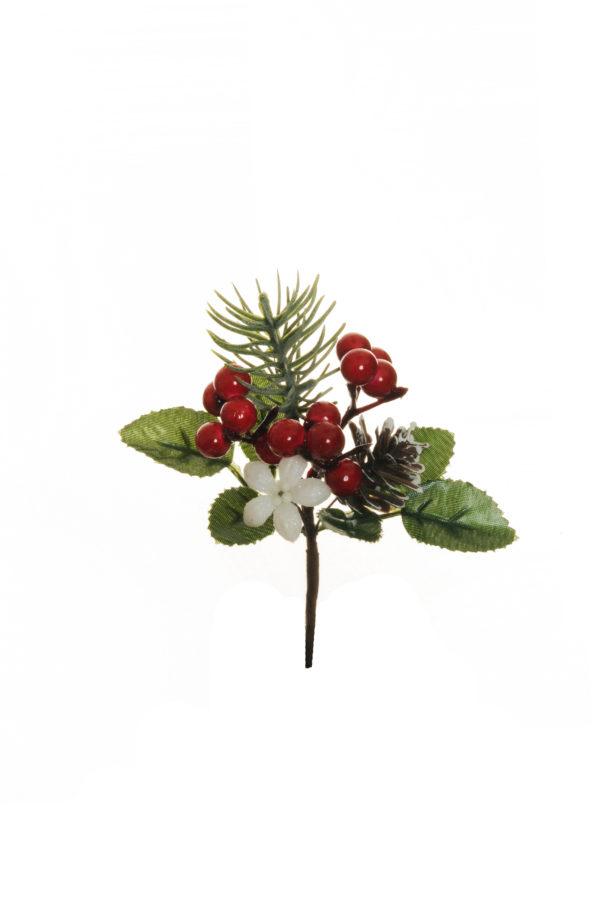 Pick con stella alpina, pigne e foglie Set 12 pz 13 cm