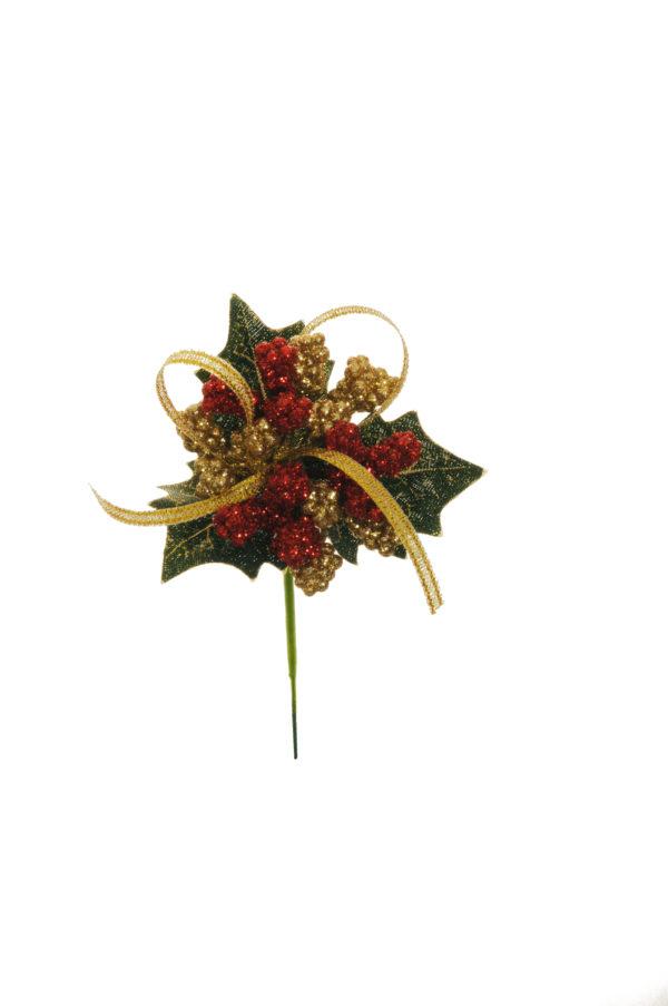 Pick con foglie di agrifoglio, bacche rosse e nastrino color oro e rosso Set 12 pz 14 cm