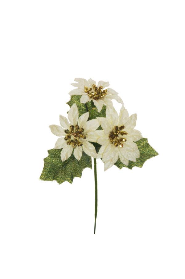 Pick con 3 stelle di Natale color crema e foglie di agrifoglio Set 12 pz 17,5 cm