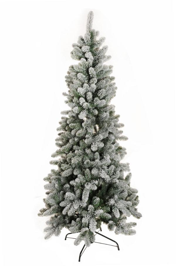 Albero di Natale innevato in pvc d. 105 cm, 210 cm