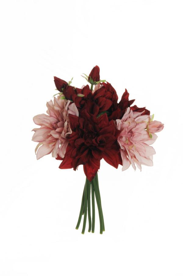 Fascio di dalia x 7 rosa e borgogna 29 cm