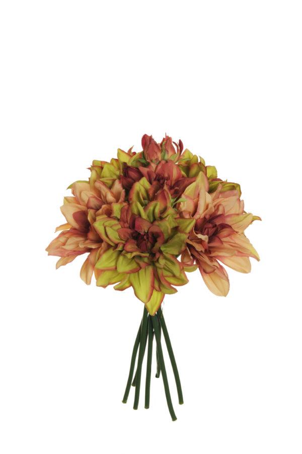 Fascio di dalia x 7 rosa, verde e borgogna 29 cm