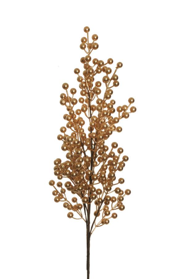 Ramo artificiale di bacche di agrifoglio di colore oro x 8 94 cm