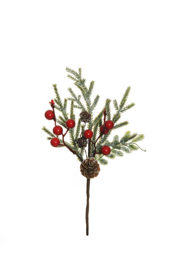 Pick di pino larice ghiacciato con bacche rosse Set 12 pz 29 cm