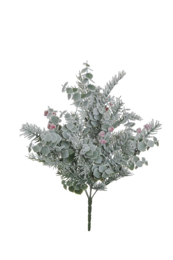Bush innevato con pino, eucalipto e piccole bacche rosse 50 cm