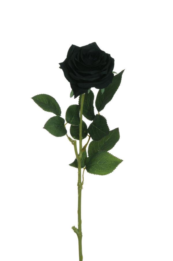 Rosa dell'Ecuador artificiale nera con 3 gruppi di foglie 65 cm