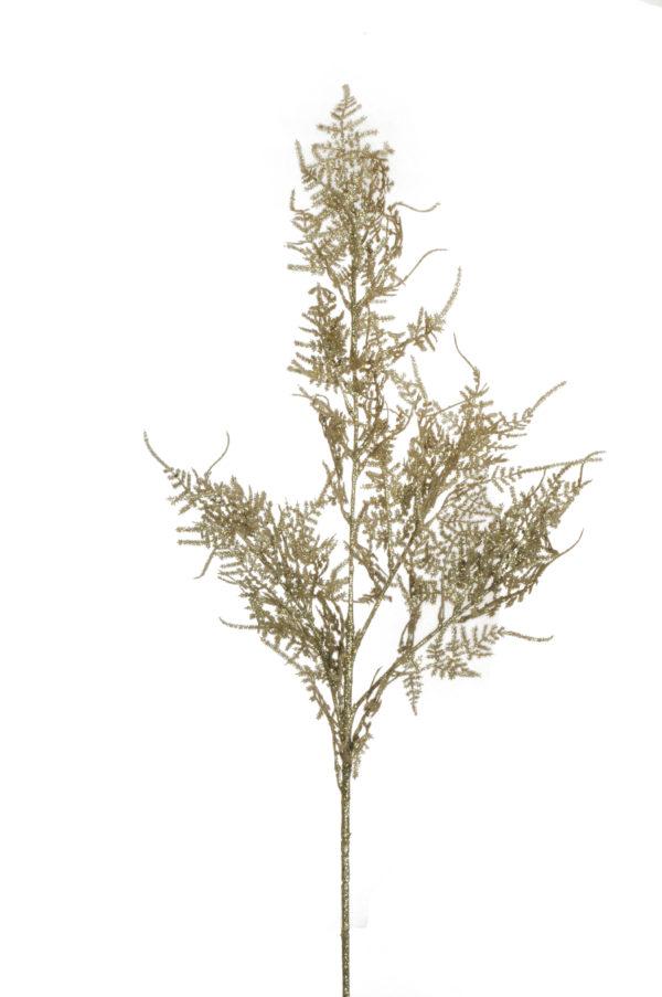 Asparago plumoso artificiale glitterato platino x 4 88 cm
