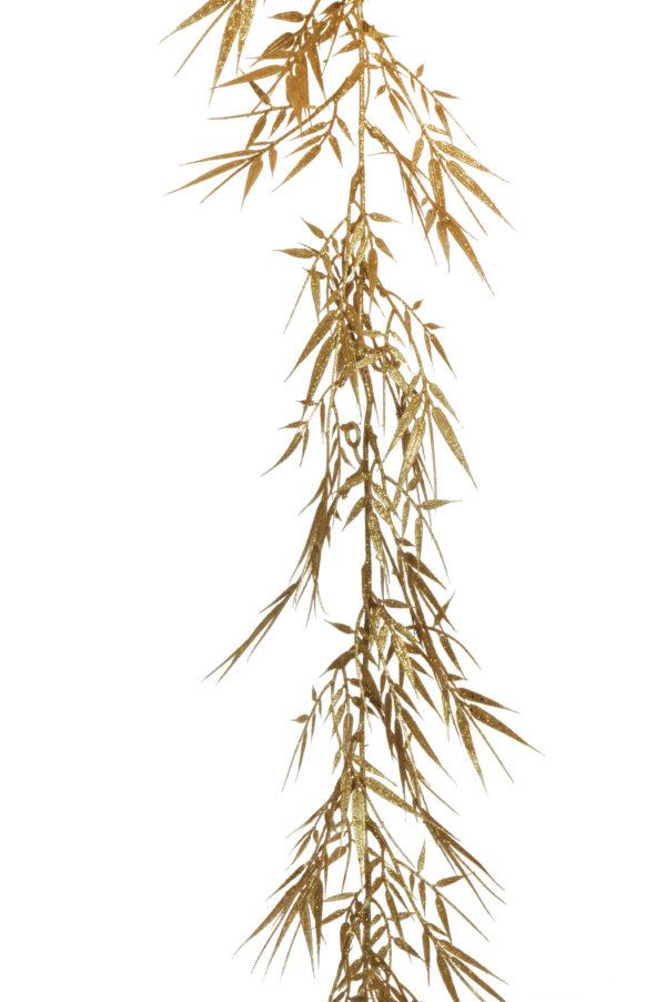 Ghirlanda artificiale di salice glitterato oro d. 16 cm, 190 cm