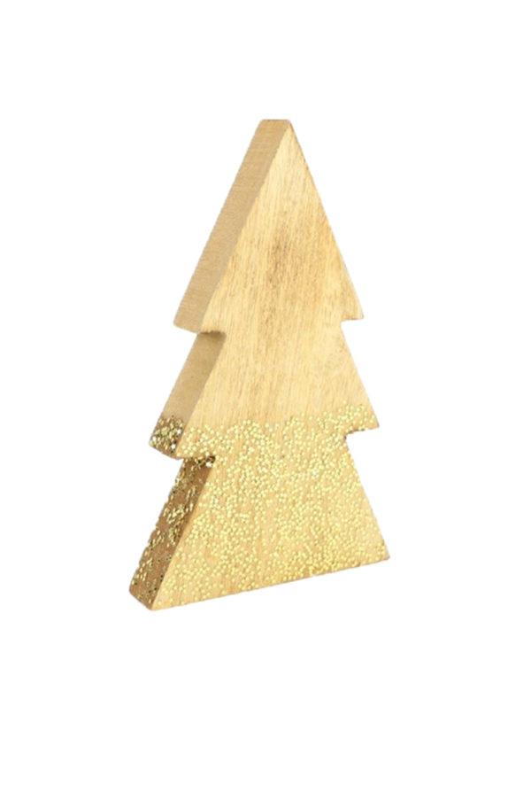 Albero in legno da appoggio con stelline dorate h. 22,5 cm