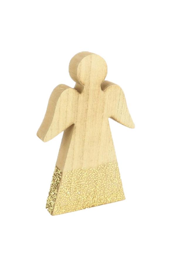 Angelo in legno da appoggio con stelline dorate h. 22 cm