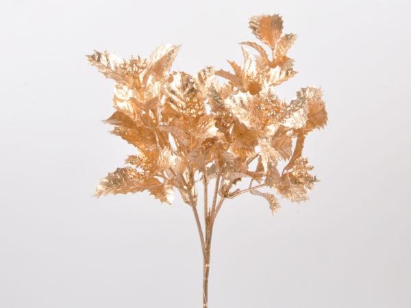 Mazzo di ilex x 6 oro con lustrini 23cm