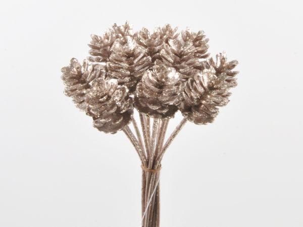 Mazzo con pigne rosa/oro con glitter 15,20 cm