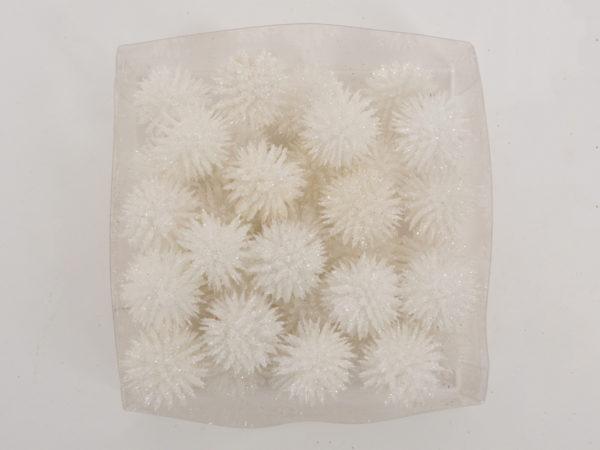 Palline con glitter 36 pz bianche