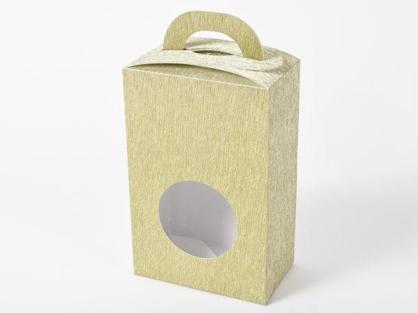Scatolina con manici oro chiaro Set 6 pz 9x5x13,5cm