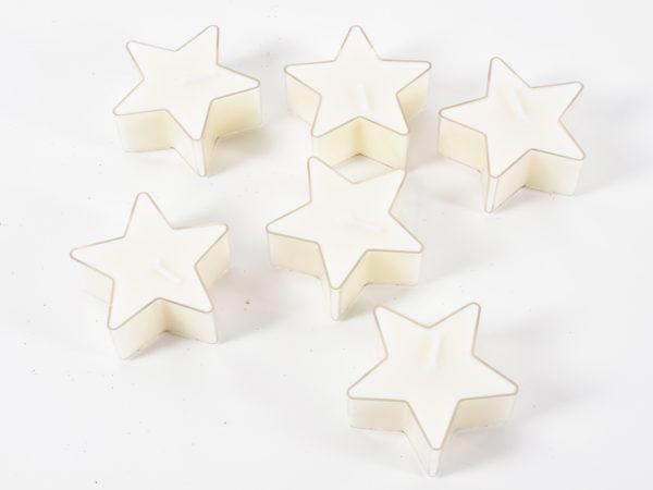 Candele a forma di stella color crema Set 6 pz 5,6x2,5 cm