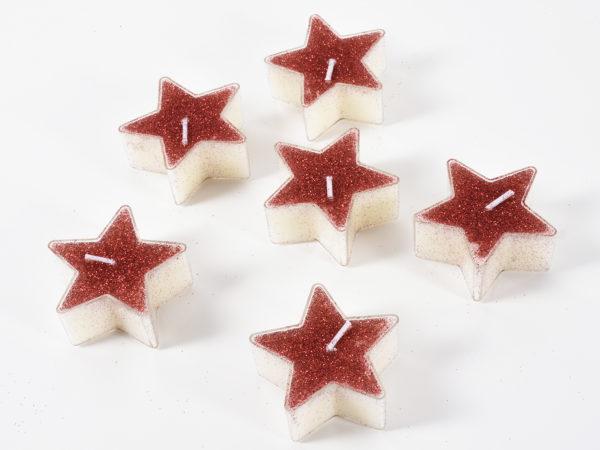 Candele a forma di stella color rosso glitterato Set 6 pz